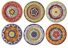 Rose & Tulipani Nador 16.5cm Side Plates Set of 6 Multi Colour Stoneware Canape