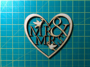Heart Mr & Mrs, MDF Laser Cut Craft Blanks in Various Sizes, Wedding Gifts, Love