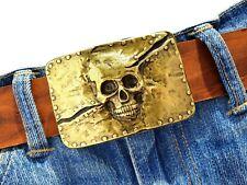 Buckle Gürtelschnalle Totenkopf Gürtelschließe Skull gold Rockstar Biker 4cm