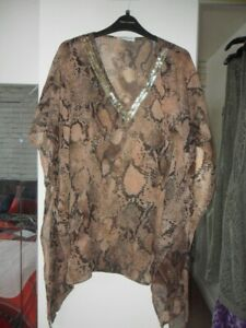 brown embellished animal print hanky hem cover-up size S suit up to a size 12