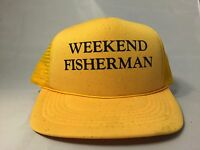 Weekend Fisherman Trucker Cap Hat Yellow Black Old School Fishing Vtg