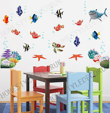 FINDING NEMO Wall Stickers Sea Fish Shark Bathroom Decor Children Kids Room UK
