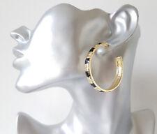 Pretty 4.5cm gold tone & black enamel half hoop earrings