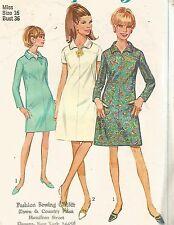 7289 Simplicity Sewing Pattern A Line Dress Back Zipper Size 16 Vintage 1960s