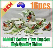 NEW Ceramic China Coffee Tea Parrot Cup Saucer Set of 16 Christmas Xmas Gift