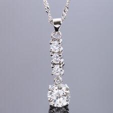 Fashion Jewelry Fine Clear Topaz Round Cut White Gold Tone Pendant For Dress