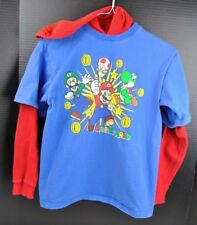 SUPER MARIO BROTHERS LONG SLEEVED HOODED THERMAL T-SHIRT YOUTH SIZE XL 14-16