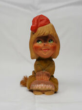 Henning Norway Carved Wood Girl Troll With Bushy Tail 6""