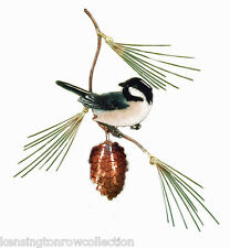 WALL ART - CHICKADEE ON PINE BRANCH METAL WALL SCULPTURE - WALL DECOR