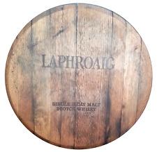 Reclaimed Whisky Barrel Lid, Solid Oak Wall Plaque LAPHROAIG pub bar mancave