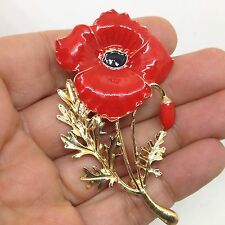 Pretty RED POPPY FLOWER BROOCH PIN Enamel Silver Tone Costume Jewelry
