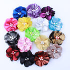 30pcs 5.5cm Metallic Fabric Chiffon Flowers With Pearls For Shoes Apparel