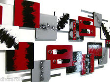 HUGE Modern Abstract Red & Black Wall Sculpture, Bold and Stunning Decor 95x24