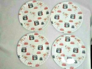 Kensie Home Retro Radio Pink Flamingo Salad Plates 4Pc Lightweight Melamine Gift