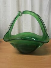 VENETIAN MURANO EXCEPTIONAL GREEN HAND MADE/BLOWN GLASS BRIDAL BASKET