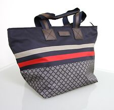 NEW Authentic GUCCI Unisex Diamante Tote Travel BAG Blue w/BRB web,medium 267922