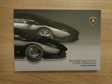 Lamborghini Murcielago LP640 Coupe/LP670-4 SV Owners Handbook/Manual