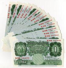 L.K. O'Brien Britannia Green One Pound £1 Banknote ( 1955 - 1960 ) B273 GEF