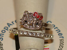 Hello Kitty SANRIO 925 Czech Crystals Flat Pave Face Red Bow Spiral Ring Sze 7
