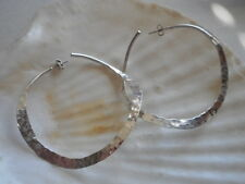 Huge Mexico HOB  Hammered Sterling Silver Twisted Hoop Earrings 4952A