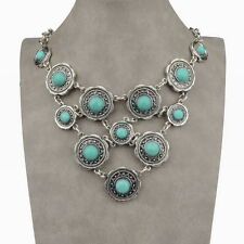 Thboxs Tibetan Silver Genuine Turquoise Bib Collar Statement Pendant Necklace