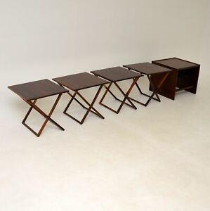 DANISH ROSEWOOD RETRO NESTING TABLES ILLUMS BOLIGHUS VINTAGE 1960's