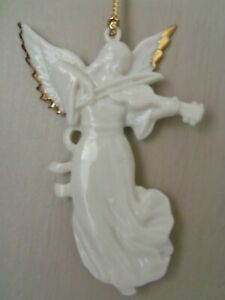 "Vtg 3 1/2"" CHRISTMAS ANGEL ORNAMENT Figurine Playing Violin LENOX Porcelain EX"