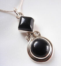 Black Onyx Square and Round 925 Sterling Silver Pendant Corona Sun Jewelry