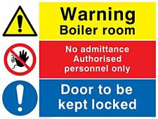 Viking Signs CV5467-A5L-3M Warning Boiler Room, No Admittance, Door Kept Locked