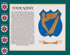 """HERITAGE COAT OF ARMS IRELAND & YOUR SURNAME HISTORY PRINT 10"""" x 8"""" & FREE GIFT"""