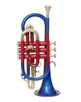 ** HIGH GRADE! BRAND NEW RED BLUE BRASS Bb FLAT CORNET FREE CASE+M/P+FAST SHIP