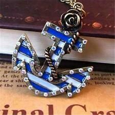 Nautical Ships Anchor Necklace Pendant Crystal Gold Plated Blue Rose USA Seller