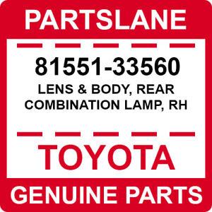 81551-33560 Toyota OEM Genuine LENS & BODY, REAR COMBINATION LAMP, RH
