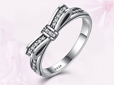 New! 925 Sterling silver Ribbon Bow knot Ring size N + Gift bag!