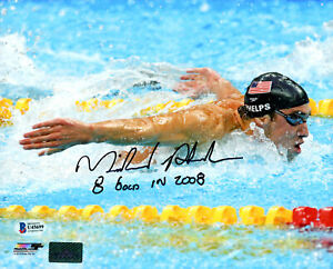 "MICHAEL PHELPS AUTOGRAPHED 8X10 PHOTO TEAM USA SWIMMING ""8 GOLD"" BECKETT 177621"