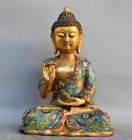 "13"" Tibet Buddhism Bronze Gild Cloisonne Seat Shakyamuni Amitabha Buddha Statue"