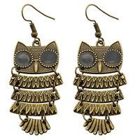 Metal Alloy Owl Cute Animal Bronze Drop Dangle Earrings Fashion Jewelry Present