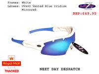 RayZor White Sports Wrap Sunglasses Uv400 Mens Ladies Outdoor Polarised RRP£49