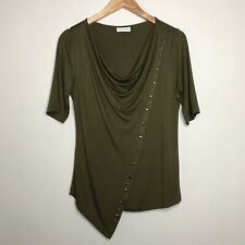 SOFT SURROUNDINGS Studded Asymmetrical Front Blouse Olive Green Sz. S Small