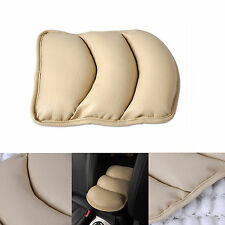 Universal Beige PU Leather Car Central Armrest Support Box Pad Cushion Cover Mat