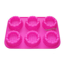 6-Cavity New Pie Patties Flan Cake Soap Silicone Mold Pan Party 12.2*8.3 inch