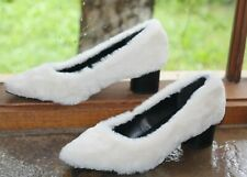 TOPSHOP QUIRKY CUTE FLUFFY WHITE HEELS 7 38 NWT US$80