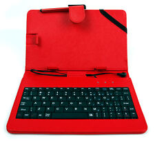 7-inch QWERTY UK Keyboard Folio Case in Red for Archos 70 / 80 Oxygen Tablet