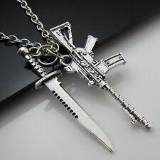 Free Tibetan Silver Saber Machine gun Lucky Pendant Charm Military fans Necklace