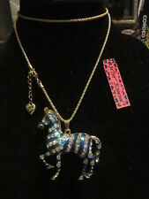 BETSEY JOHNSON RHINESTONE CRYSTAL BEADS BLUE ZEBRA W/TANGLY TAIL NECKLACE 29""