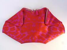 ALEXANDER MCQUEEN Pink Orange Leopard Print Silk De Manta Clutch Bag NWT