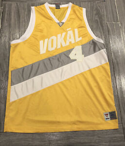 VTG VOKAL BASKETBALL JERSEY YELLOW/WHITE STICHED 2XL