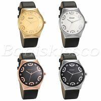 Men's Women's Unisex Luxury Leather Strap Band Dial Analog Quartz Wrist Watch