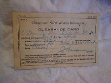 1924 CHICAGO & NORTHWESTERN RAILROAD CLEARANCE CARD,adams wyeville,wi,train,form