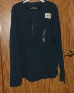 SONOMA MENS LONG SLEEVE THERMAL HENLY COTTON M BLUE 3 BUTTON NEW